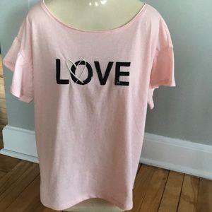 Victoria's Secret pink top/'Love' sequin graphic L
